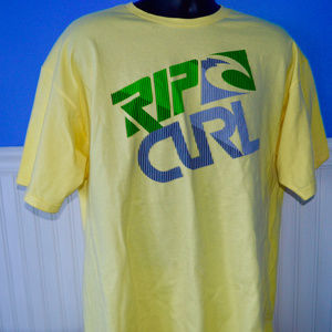 Rip Curl T Shirt XL s/s Surfing Yellow Cotton